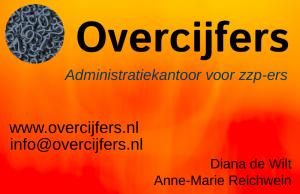 Afbeelding van visitekaartje van Overcijfers boekhoudkantoor met name voor zzp - ers